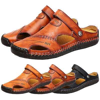 Men's Summer Beach Stitching Leather Sandals Slippers Outdoor Closed Toe Shoes
