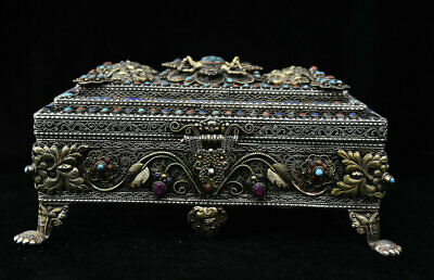 """11"""" Old Tibet Nepal Gold Silver Wire inlay Coral Turquoise Faqi Jewelry Box"""