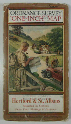 1928 OS Ordnance Survey One-Inch Popular Edition Special Map Hertford St Albans