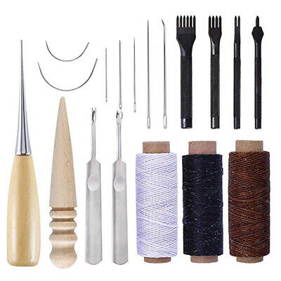 18Pcs Leather Craft Hand Stitching Sewing Kit Shoes Repair Needle Stitching Tool