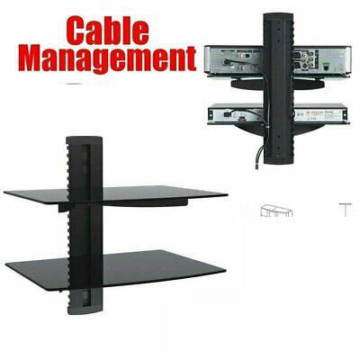 2 Tier Floating Glass Shelf Wall Mounted TV Components For DVD Set Top Box AV