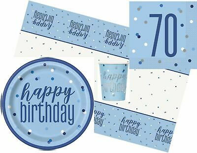 Blue & Silver Glitz Age 70 Birthday Napkins Party Packs, Tablecover  Balloons
