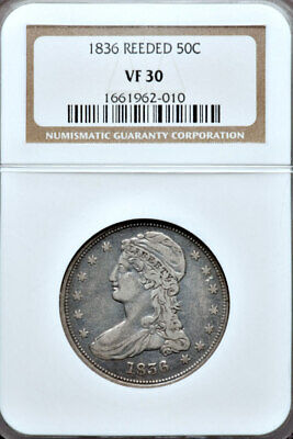 1836 Reeded Edge NGC VF30 Mintage 1,200 █ Capped Bust Half Dollar █ 50C