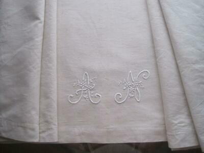 Antique French Linen Metis Sheet, Lovely Country Style Fabric - Curtains, Blinds