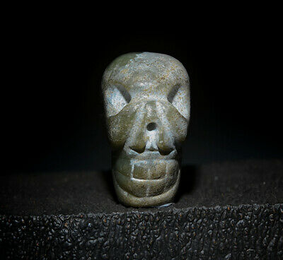 Amazing Chinese Ancient Hongshan Culture Jade Carved Skull Amulet Pendant 1.81""