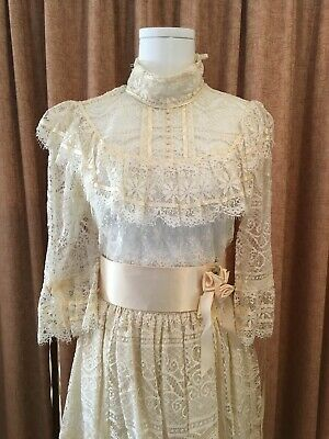 Guipure Lace Cream Top And Skirt Wedding Coordinate Matching Vintage Womens