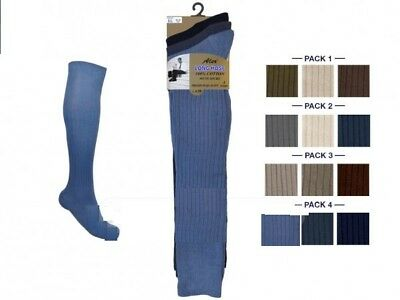 Mens Long Hose Socks 100% Cotton Non Elastic Knee High Ribbed Gold Style By Aler