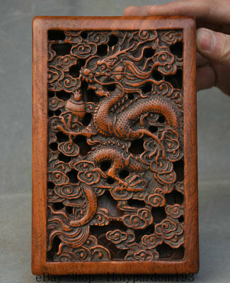 "7.2"" Old Chinese Huanghuali Wood Dynasty Dragon hollow out inkstone inkslab Box"