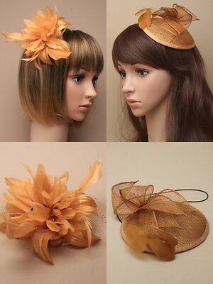 Gold Fascinator Wedding Races Prom Ascot Occasion Wholesale Headpiece Fashion