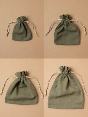 Olive Jute Effect Bag Cloth Drawstring Pouch Bulk Jewellery Gift Craft Bags