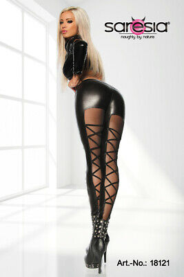 Leggings schwarz Stretch Wetlook elastisch Gogo hinte transparent XS S M L XL
