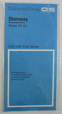 1958 old vintage OS Ordnance Survey 1:25000 First Series Map SP 03 Stanway Glos