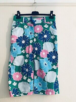 Mini Boden Age 13 Floral Multi Couloured Cropped Capri Trousers Boho Indie Cute