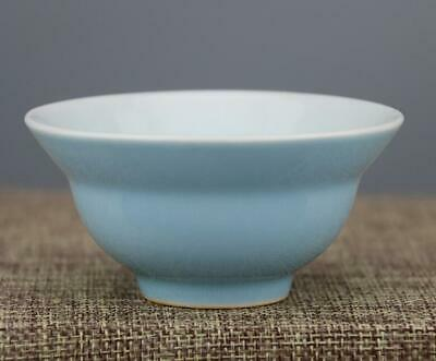 chinese old handmade blue glaze porcelain Kung fu cup 04239