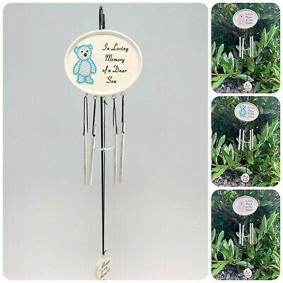 Diamante Teddy Bear Hanging Wind Chime Graveside Tribute Child Memorial Plaque