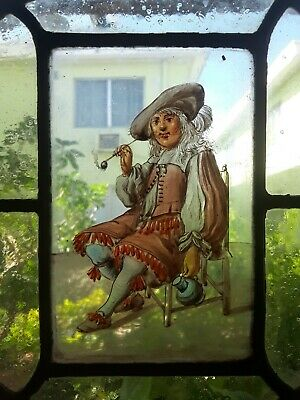 """RARE MUSEUM QUALITY EARLY 17th C. FLEMISH STAINED GLASS WINDOW PANEL""""Man w Pipe"""""""