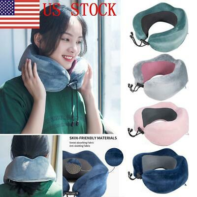 US U Shaped Memory Foam Travel Pillow Pain Reliefe Neck Support Multi Color NEW