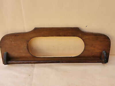 Old Antique Primitive Wooden Wall Hanging Towel Rail Hanger Rack Mirror