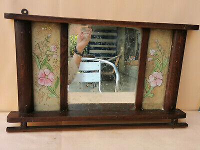 Antique Primitive Hand Carved Wooden Wall Hanging Mirror Towel Rack
