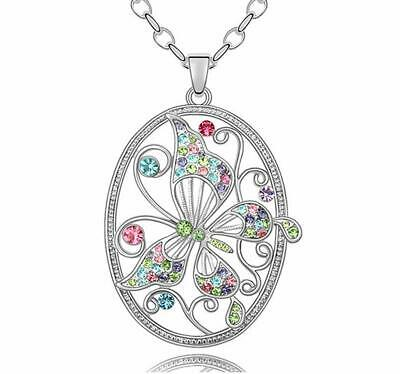 Dazzle flash Platinum Plated Hollow Butterfly in Colored Cubic Zircon Oval