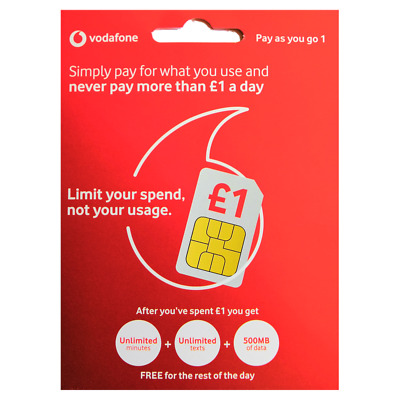 VODAFONE Pay As U Go 1. UNLIMITED MINS/TXT. NOW ONLY 20p - Discount at checkout