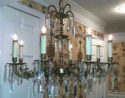 ANTIQUE Vintage French 8 Arm 8 Lite Cut Crystal Bronze Brass SPAIN Chandelier