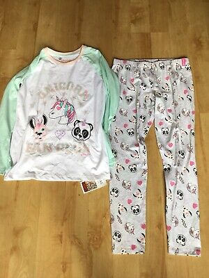 Bnwt M&S Girls Unicorn Emoji Pyjamas Age 13-14