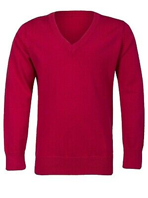 New Ex M*S Boys Girls cotton rich V neck school jumper Red 3-16 years