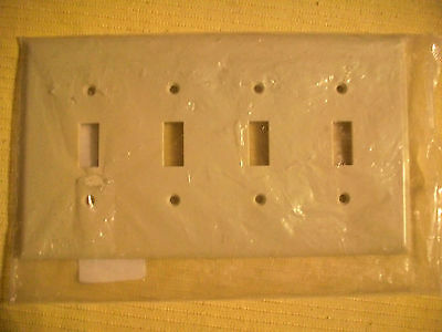 Ivory Switch Wall Face Plate Cover With Screws 4 Gang Smooth Face Multi Toggle