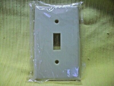 Smooth Ivory Switch Plate Wall Cover W Screws 1 Gang Single Toggle Plastic Elect