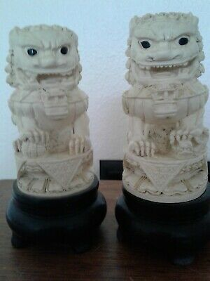 Antique Chinese Lion Foo Dogs Cattle Bone Around 100 Years Old Excellent Conditi