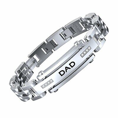 COOLMAN Men Bracelet Stainless Steel with Adjustable Clasp Engraved Wristband
