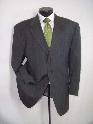 """Hart Schaffner Marx Green Gray Striped 3 Buttons Wool Suit 44 R~Pant 35""""Wx29.5""""L"""