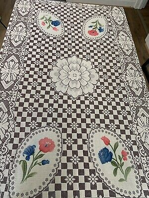 Vintage Pink Blue Flower Floral Off White Lace With Rose Tint Tablecloth 54 X 81
