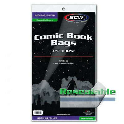 (100) Bcw Resealable Silver Comic Book Soft Poly Acid Free Storage Bags