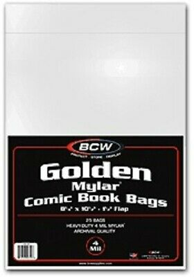 (50) Bcw 4 Mil Mylar Golden Age Comic Book Acid Free Storage Bag Holders