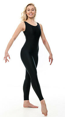 Ladies Girls Black Lycra Sleeveless Footless Catsuit Unitard KDC016 By Katz