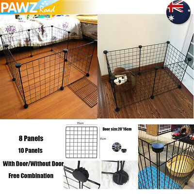 8/10 Panel Pet Dog Cat Foldable Barrier Metal Wire Fence Cage Playpen Safe Gate