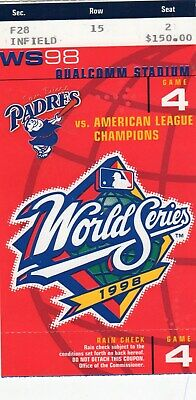 1998 World Series Game 4 Clincher Ticket Stub - New York Yankees @ Sd Padres