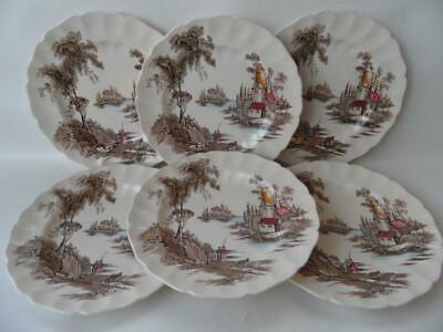 Set x 6 Vintage Johnson Bros  made in England The Old  Mill Dinner Plates