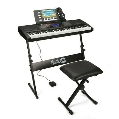RockJam RJ761-SK Key Electronic Interactive Teaching Piano Keyboard with Stand,