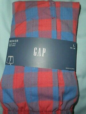GAP NWT Men's Large 35 36 waist subdued blue and red checked cotton boxer