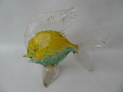 Vintage Hand Blown Italian Murano Art Glass Fish Yellow & Green Speckles