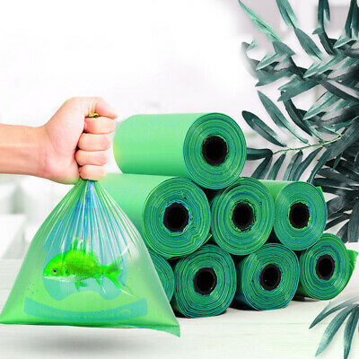 8Rolls Green Pet Dog Poop Bags Eco Friendly Biodegradable Cat Travel Waste Bags