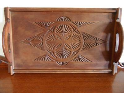 ANTIQUE EDWARDIAN ORNATE 1920s CHIP CARVED WOODEN CEDAR WOOD SERVING TRAY
