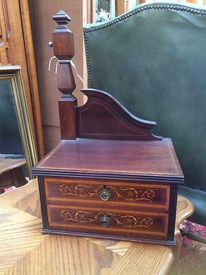 Antique Wooden & Marquetry Inlay Two Draw Dressing Table Jewellery Sewing Box