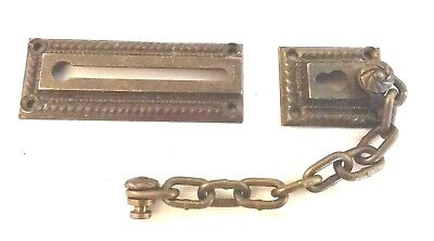 Solid Brass Antique / Vintage Door Security Chain - Heavyweight - Ornate Details