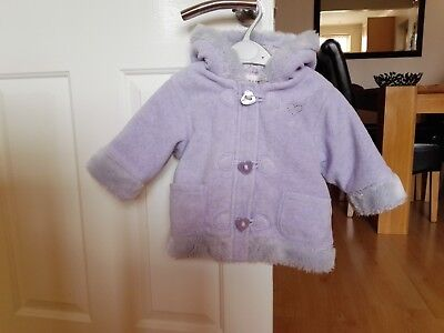 Next 9-12 Months Girls Lilac Fleece Padded Coat/Jacket with Hood & Floral Lining