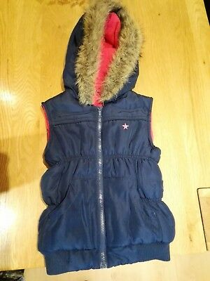George Girls 5-6 Years Navy with Pink Fleece Lining Gillet with Hood BNWOT