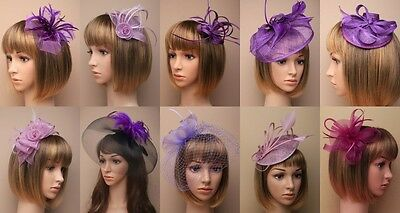 Purple Fascinator Wedding Races Prom Ascot Occasion Wholesale Headpiece ClipBand